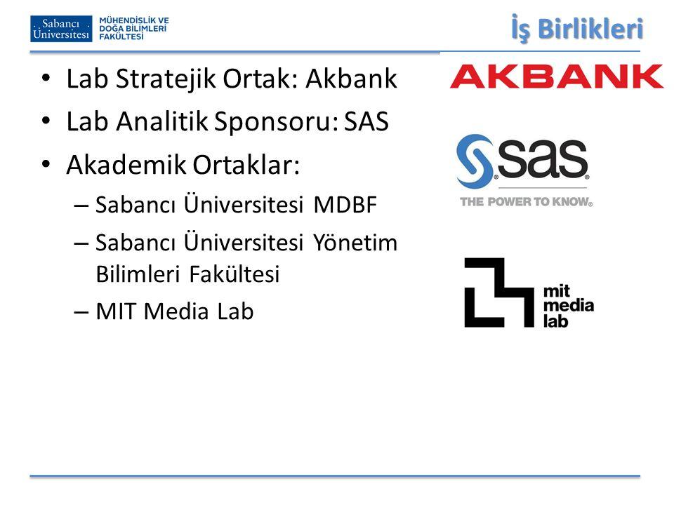 İş Birlikleri Lab Stratejik Ortak: Akbank Lab Analitik Sponsoru: SAS Akademik Ortaklar: – Sabancı Üniversitesi MDBF – Sabancı Üniversitesi Yönetim Bilimleri Fakültesi – MIT Media Lab