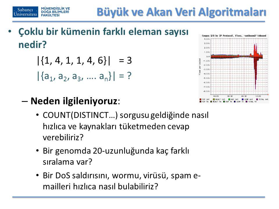 Büyük ve Akan Veri Algoritmaları Çoklu bir kümenin farklı eleman sayısı nedir? |{1, 4, 1, 1, 4, 6}| = 3 |{a 1, a 2, a 3, …. a n }| = ? – Neden ilgilen