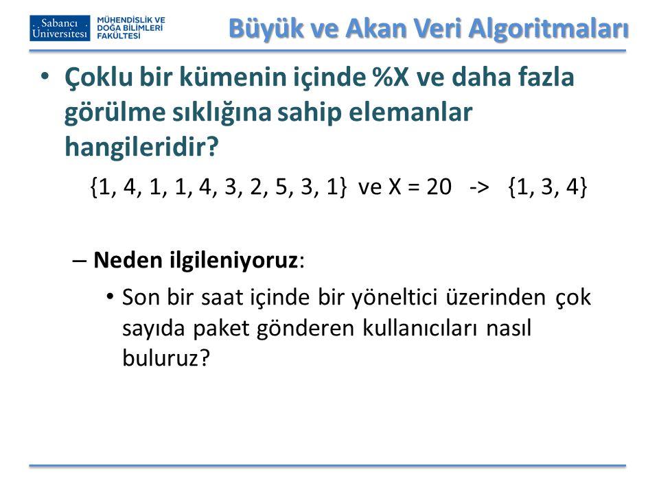Büyük ve Akan Veri Algoritmaları Çoklu bir kümenin içinde %X ve daha fazla görülme sıklığına sahip elemanlar hangileridir? {1, 4, 1, 1, 4, 3, 2, 5, 3,