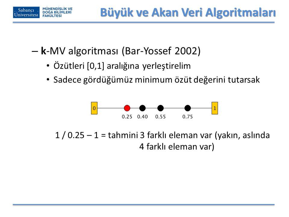 Büyük ve Akan Veri Algoritmaları – k-MV algoritması (Bar-Yossef 2002) Özütleri [0,1] aralığına yerleştirelim Sadece gördüğümüz minimum özüt değerini tutarsak 1 / 0.25 – 1 = tahmini 3 farklı eleman var (yakın, aslında 4 farklı eleman var)
