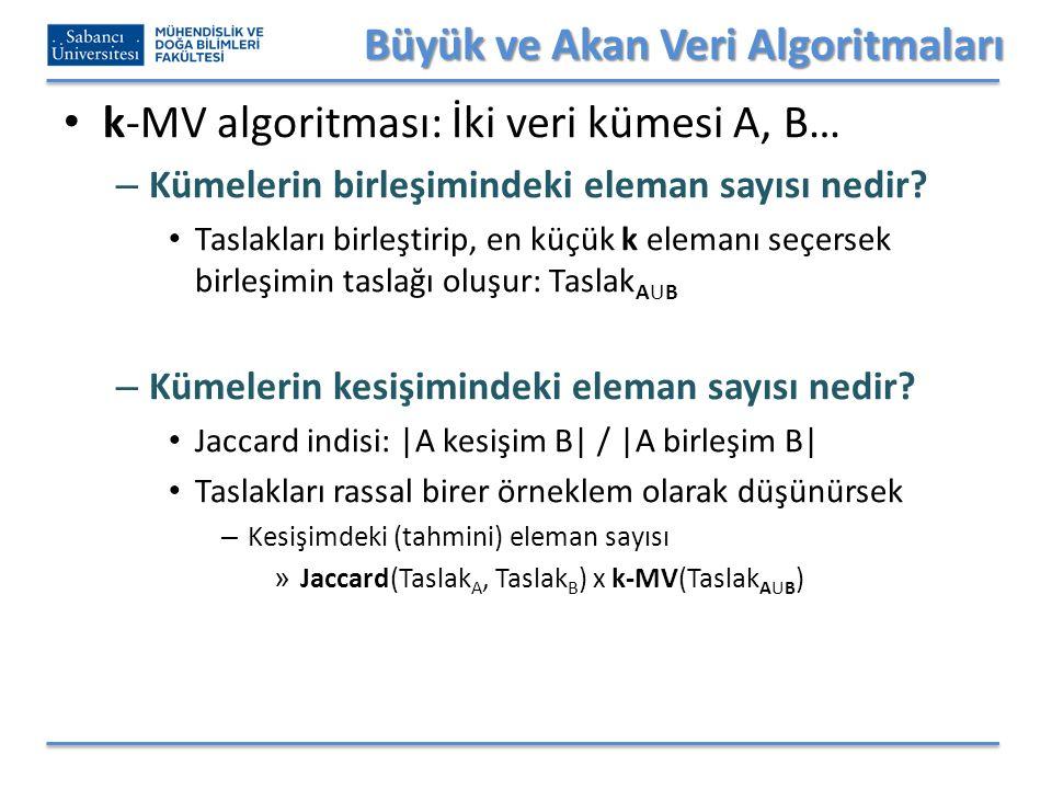 Büyük ve Akan Veri Algoritmaları k-MV algoritması: İki veri kümesi A, B… – Kümelerin birleşimindeki eleman sayısı nedir.