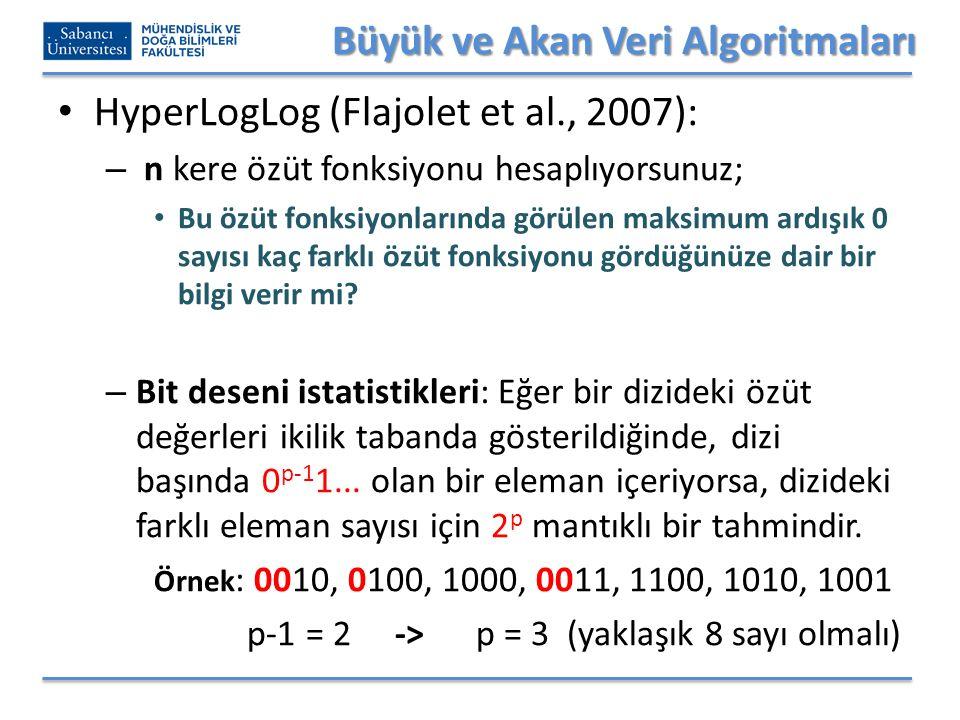 Büyük ve Akan Veri Algoritmaları HyperLogLog (Flajolet et al., 2007): – n kere özüt fonksiyonu hesaplıyorsunuz; Bu özüt fonksiyonlarında görülen maksimum ardışık 0 sayısı kaç farklı özüt fonksiyonu gördüğünüze dair bir bilgi verir mi.