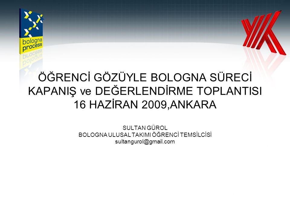 ÖĞRENCİ GÖZÜYLE BOLOGNA SÜRECİ KAPANIŞ ve DEĞERLENDİRME TOPLANTISI 16 HAZİRAN 2009,ANKARA SULTAN GÜROL BOLOGNA ULUSAL TAKIMI ÖĞRENCİ TEMSİLCİSİ sultangurol@gmail.com