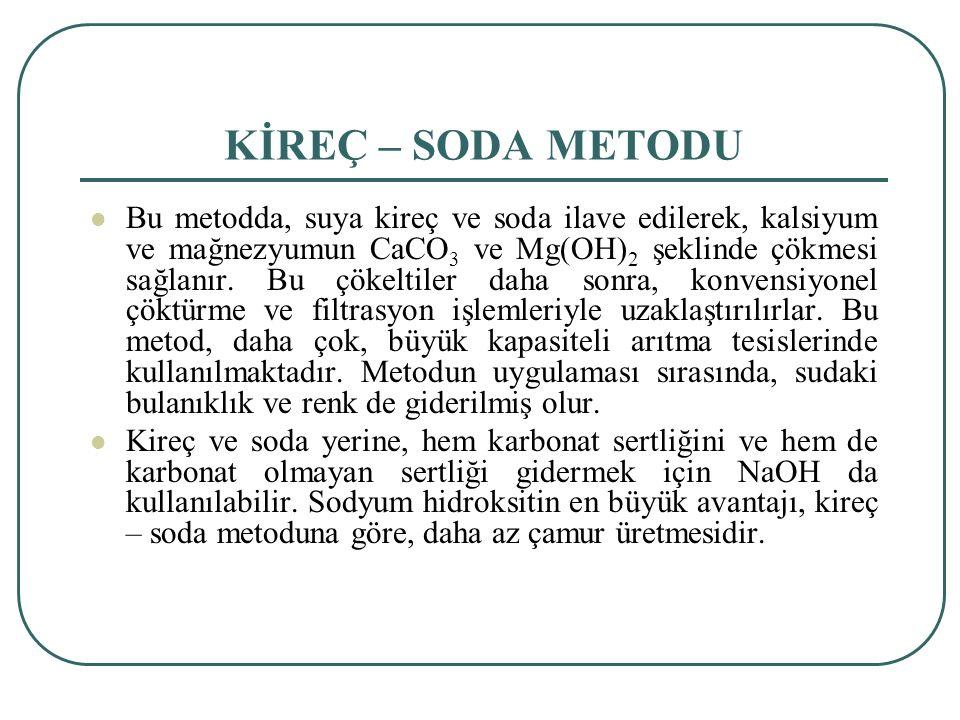 KİREÇ – SODA METODU Bu metodda, suya kireç ve soda ilave edilerek, kalsiyum ve mağnezyumun CaCO 3 ve Mg(OH) 2 şeklinde çökmesi sağlanır.