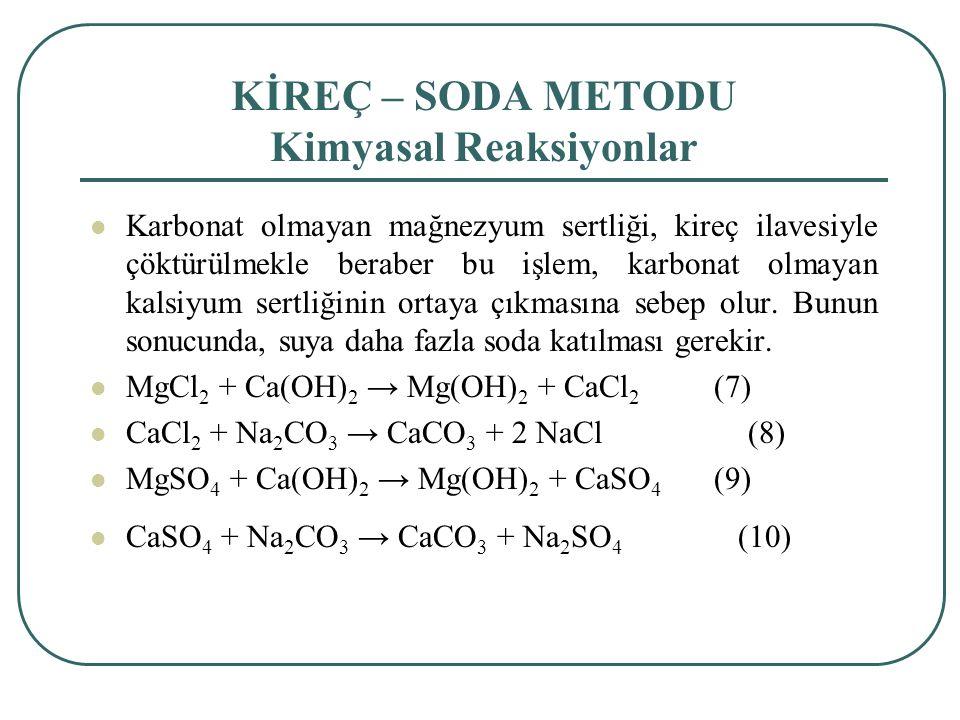KİREÇ – SODA METODU Kimyasal Reaksiyonlar Karbonat olmayan mağnezyum sertliği, kireç ilavesiyle çöktürülmekle beraber bu işlem, karbonat olmayan kalsiyum sertliğinin ortaya çıkmasına sebep olur.
