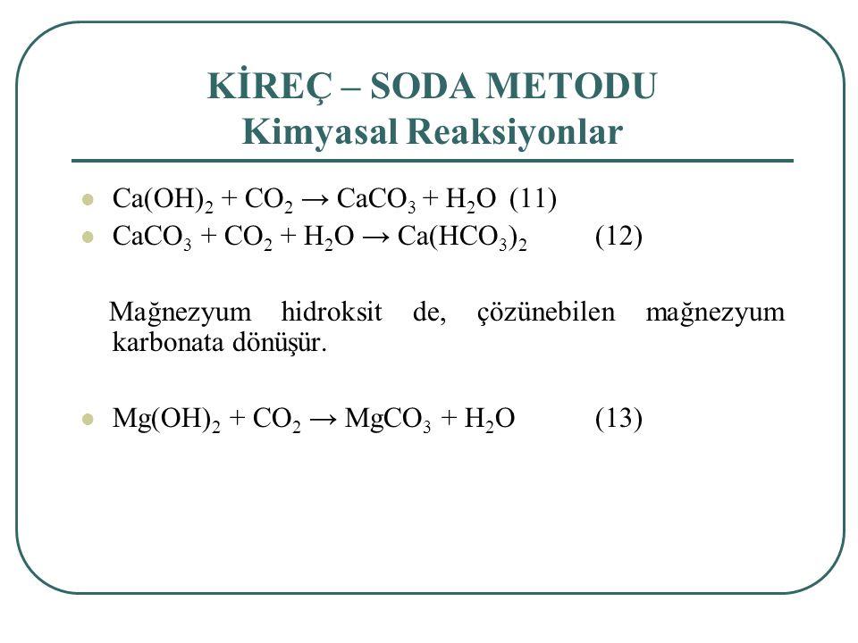 KİREÇ – SODA METODU Kimyasal Reaksiyonlar Ca(OH) 2 + CO 2 → CaCO 3 + H 2 O(11) CaCO 3 + CO 2 + H 2 O → Ca(HCO 3 ) 2 (12) Mağnezyum hidroksit de, çözünebilen mağnezyum karbonata dönüşür.