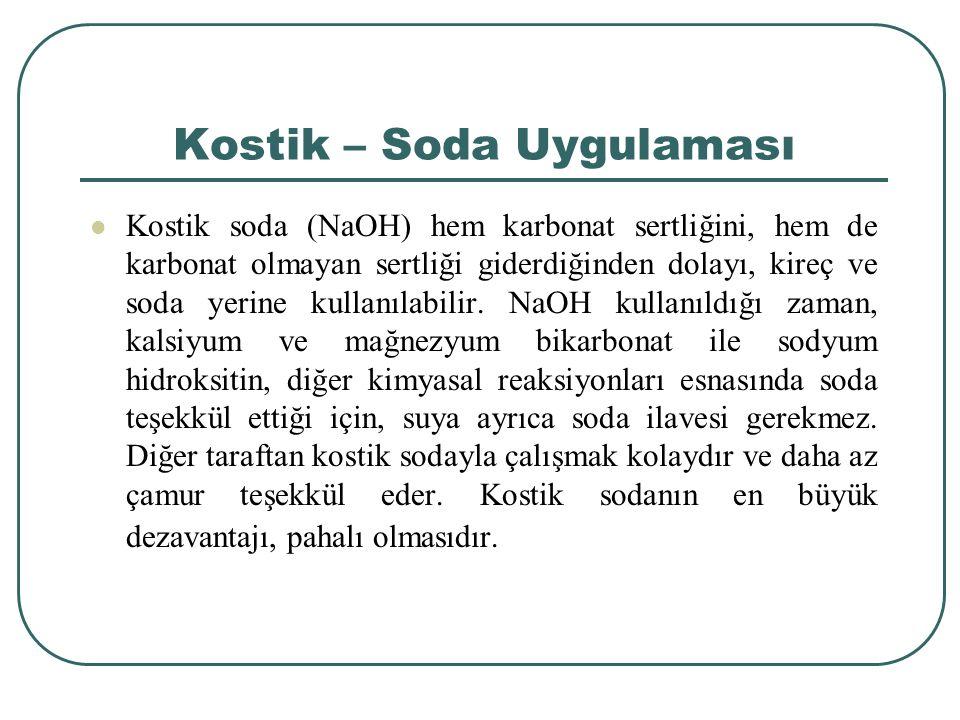 Kostik – Soda Uygulaması Kostik soda (NaOH) hem karbonat sertliğini, hem de karbonat olmayan sertliği giderdiğinden dolayı, kireç ve soda yerine kullanılabilir.