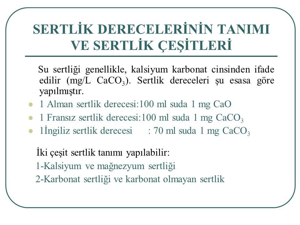 SERTLİK DERECELERİNİN TANIMI VE SERTLİK ÇEŞİTLERİ Su sertliği genellikle, kalsiyum karbonat cinsinden ifade edilir (mg/L CaCO 3 ).