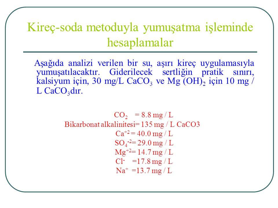 Kireç-soda metoduyla yumuşatma işleminde hesaplamalar Aşağıda analizi verilen bir su, aşırı kireç uygulamasıyla yumuşatılacaktır.
