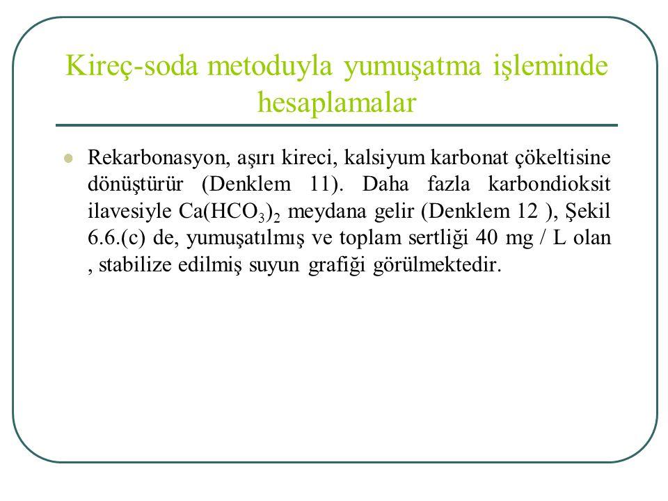 Kireç-soda metoduyla yumuşatma işleminde hesaplamalar Rekarbonasyon, aşırı kireci, kalsiyum karbonat çökeltisine dönüştürür (Denklem 11).