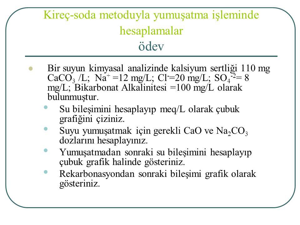 Kireç-soda metoduyla yumuşatma işleminde hesaplamalar ödev Bir suyun kimyasal analizinde kalsiyum sertliği 110 mg CaCO 3 /L; Na + =12 mg/L; Cl - =20 mg/L; SO 4 -2 = 8 mg/L; Bikarbonat Alkalinitesi =100 mg/L olarak bulunmuştur.