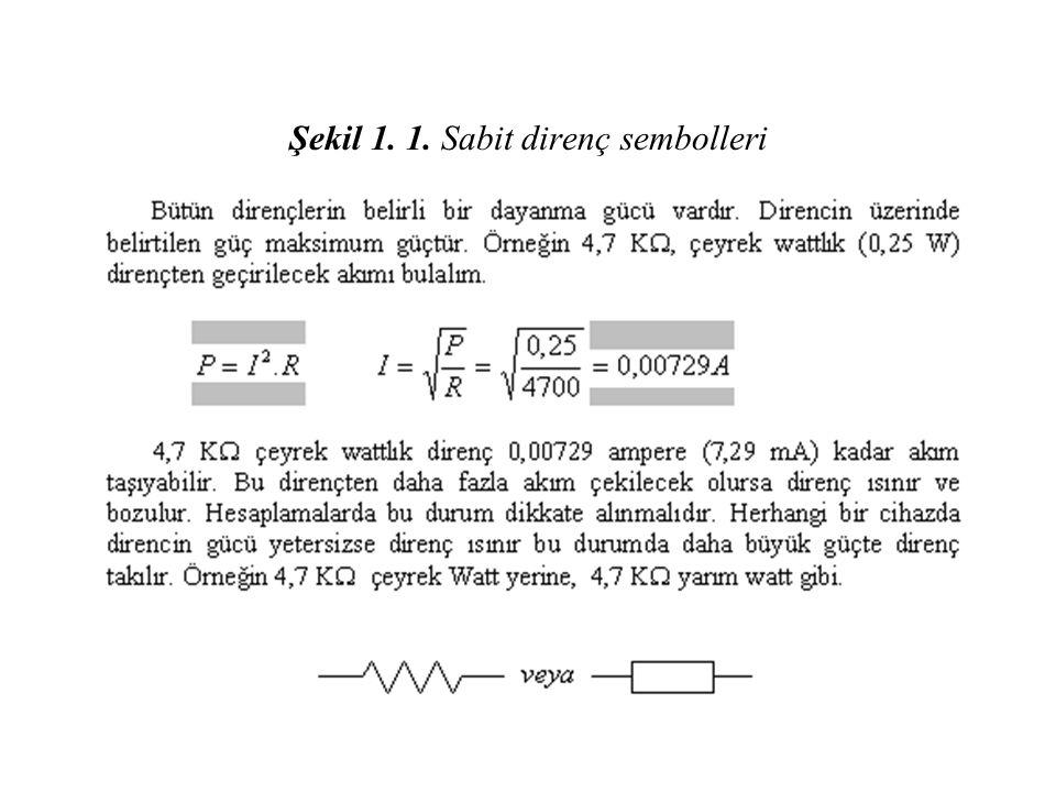 Tablo 1.3. Film direnç (5 veya 6 renkli) renk kodları RENK 1.