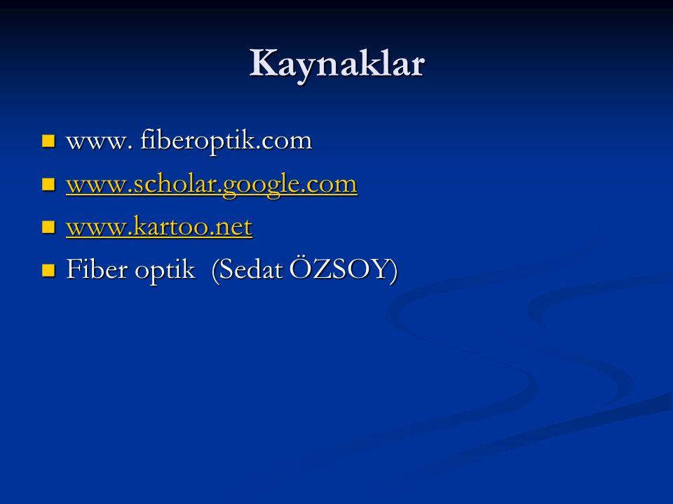 Kaynaklar www. fiberoptik.com www. fiberoptik.com www.scholar.google.com www.scholar.google.com www.scholar.google.com www.kartoo.net www.kartoo.net w