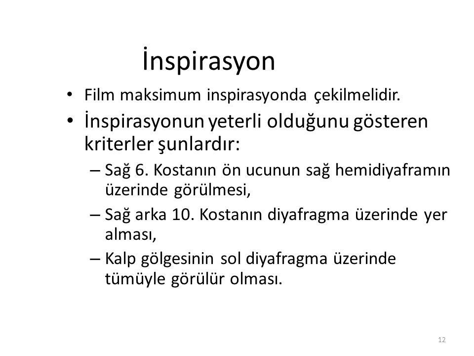 12 İnspirasyon Film maksimum inspirasyonda çekilmelidir. İnspirasyonun yeterli olduğunu gösteren kriterler şunlardır: – Sağ 6. Kostanın ön ucunun sağ