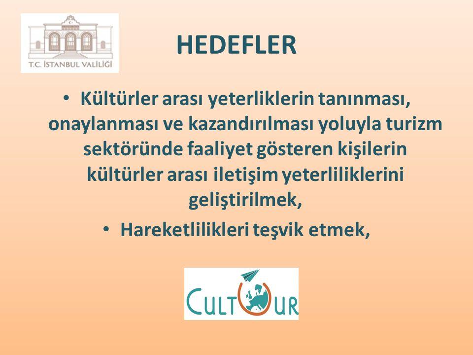 HEDEFLER Kültürler arası yeterliklerin tanınması, onaylanması ve kazandırılması yoluyla turizm sektöründe faaliyet gösteren kişilerin kültürler arası iletişim yeterliliklerini geliştirilmek, Hareketlilikleri teşvik etmek,