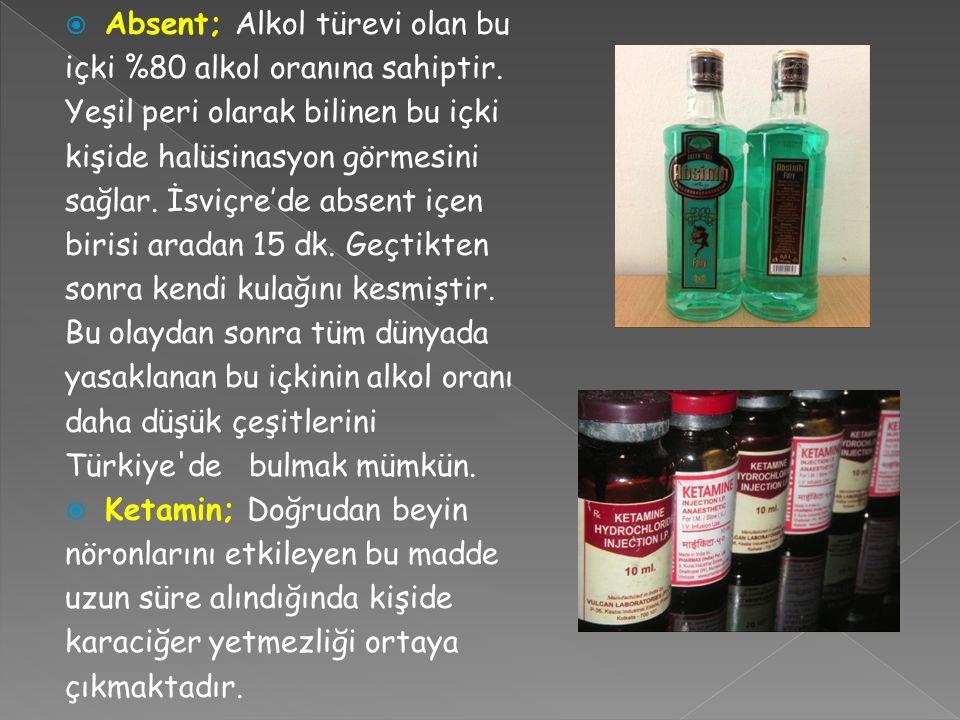  Absent; Alkol türevi olan bu içki %80 alkol oranına sahiptir.