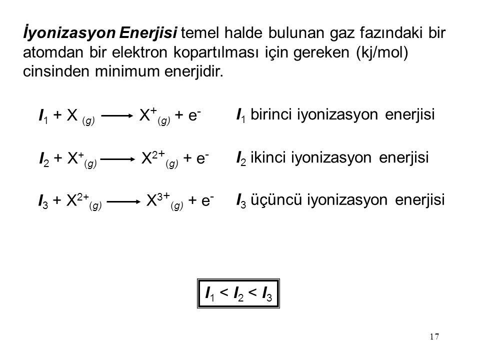 17 İyonizasyon Enerjisi temel halde bulunan gaz fazındaki bir atomdan bir elektron kopartılması için gereken (kj/mol) cinsinden minimum enerjidir.