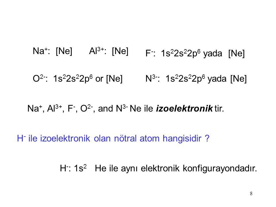8 Na + : [Ne]Al 3+ : [Ne] F - : 1s 2 2s 2 2p 6 yada [Ne] O 2- : 1s 2 2s 2 2p 6 or [Ne]N 3- : 1s 2 2s 2 2p 6 yada [Ne] Na +, Al 3+, F -, O 2-, and N 3- Ne ile izoelektronik tir.