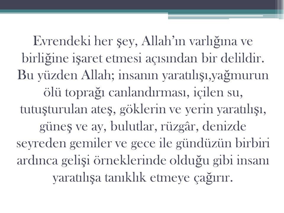 Evrendeki her ş ey, Allah'ın varlı ğ ına ve birli ğ ine i ş aret etmesi açısından bir delildir.