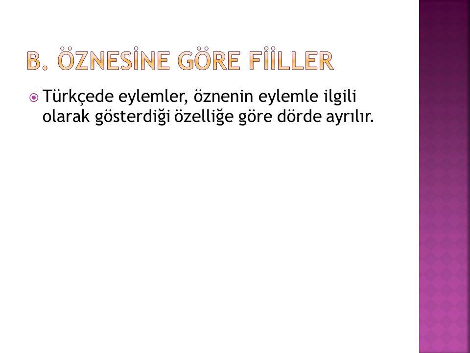  Türkçede eylemler, öznenin eylemle ilgili olarak gösterdiği özelliğe göre dörde ayrılır.