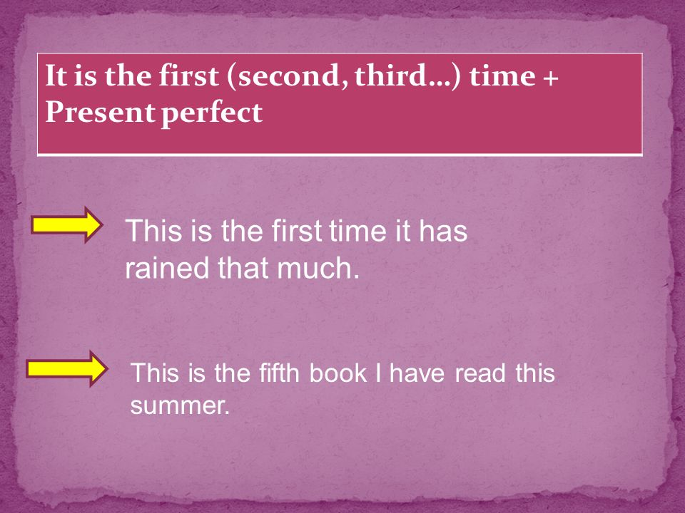 It is the first (second, third…) time + Present perfect This is the first time it has rained that much.
