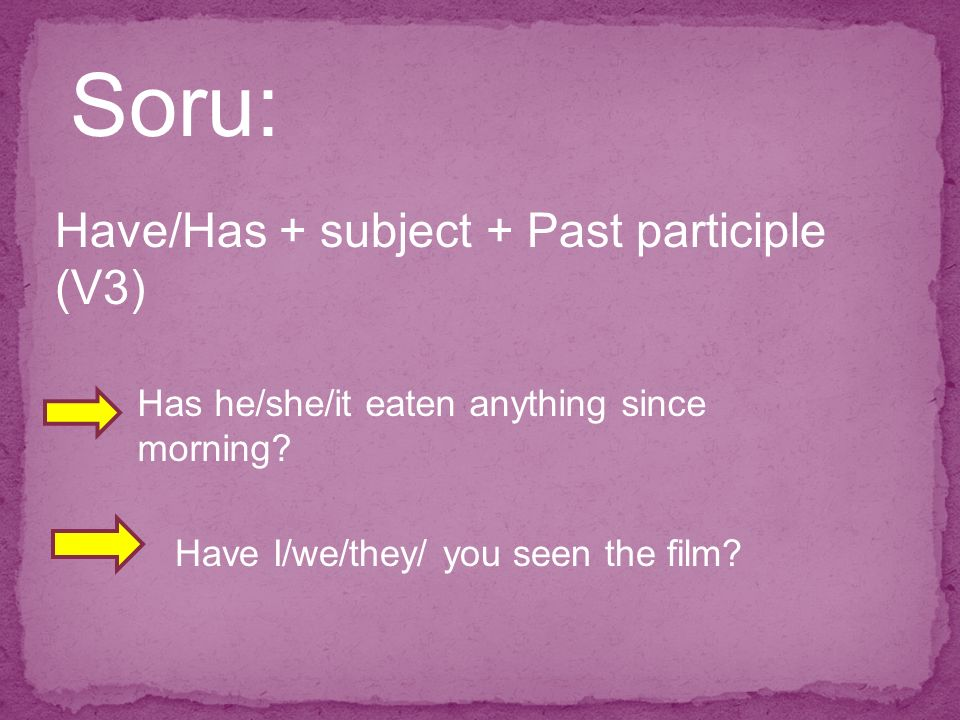 Soru: Have/Has + subject + Past participle (V3) Has he/she/it eaten anything since morning.