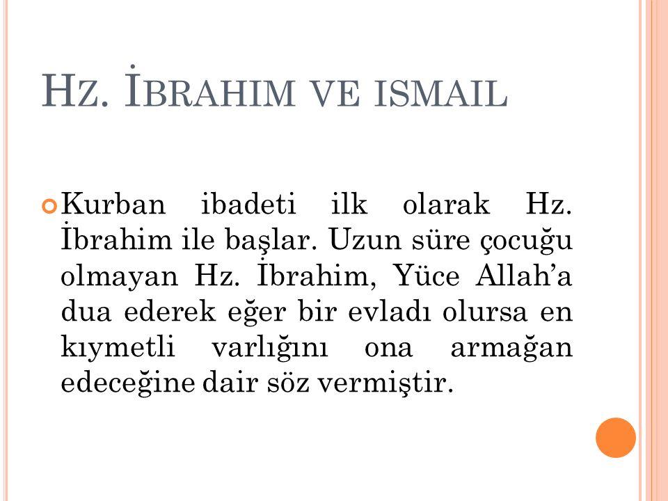 H Z.İ BRAHIM VE ISMAIL Kurban ibadeti ilk olarak Hz.