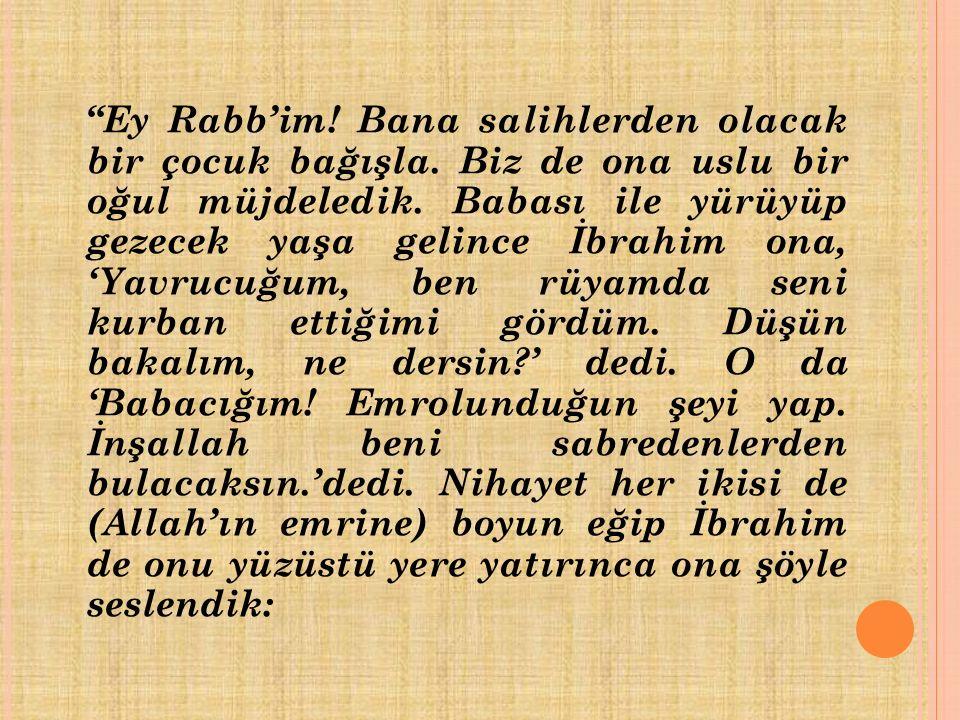 Hz. İbrahim ile oğlu İsmail'i konu alan bu olay, Kur'an-ı Kerim'de şöyle anlatılıyor: