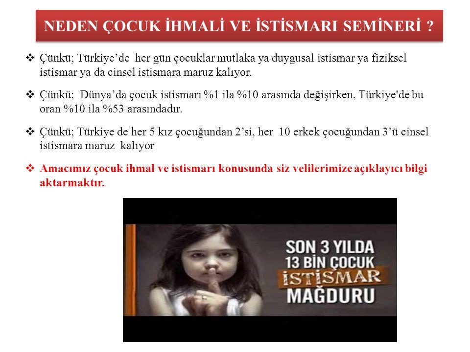 NEDEN ÇOCUK İHMALİ VE İSTİSMARI SEMİNERİ ?  Çünkü; Türkiye'de her gün çocuklar mutlaka ya duygusal istismar ya fiziksel istismar ya da cinsel istisma