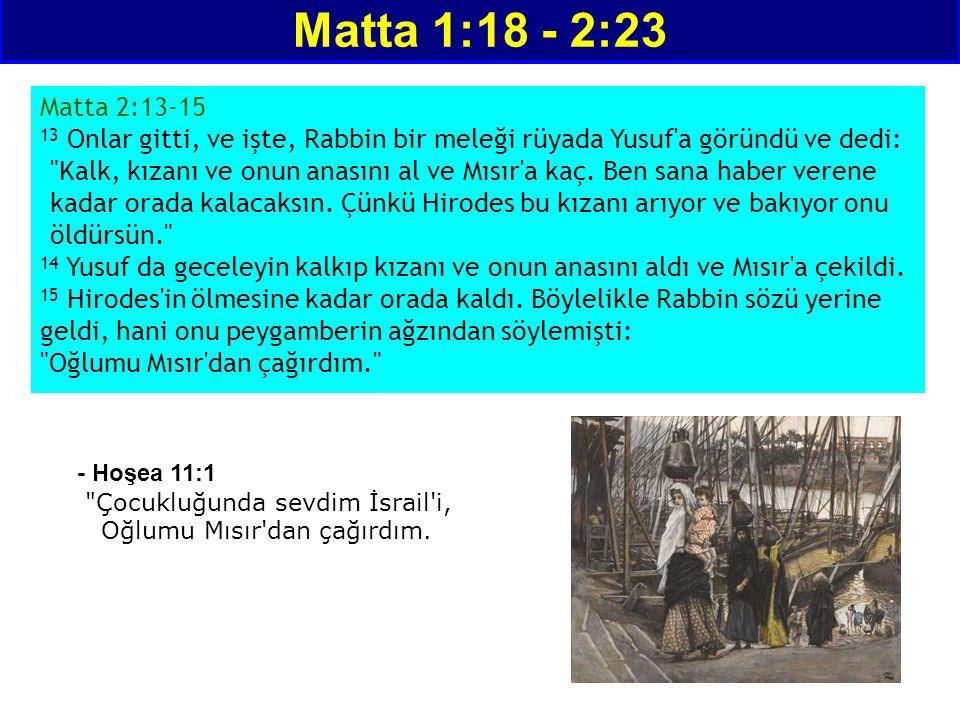 Matta 1:18 - 2:23 Matta 2:13-15 13 Onlar gitti, ve işte, Rabbin bir meleği rüyada Yusuf a göründü ve dedi: Kalk, kızanı ve onun anasını al ve Mısır a kaç.