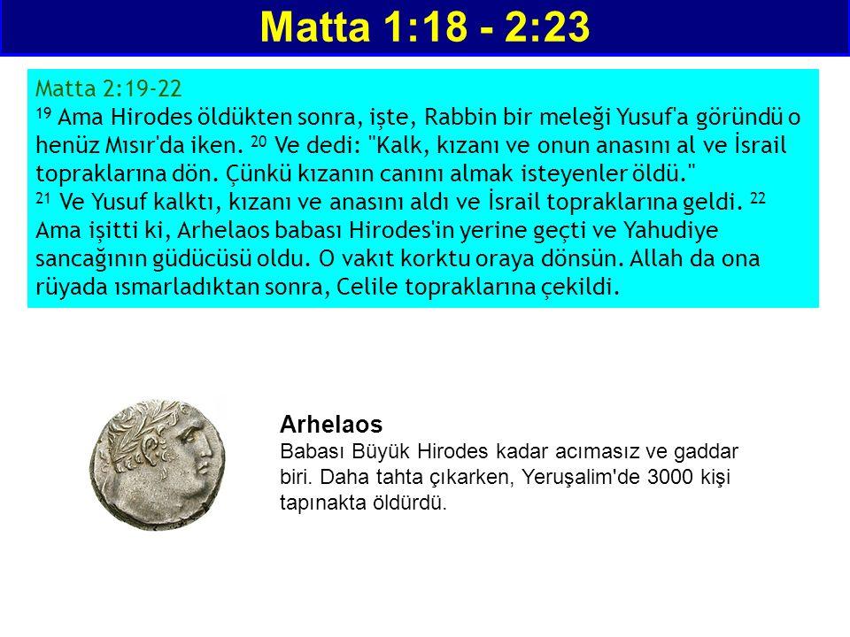 Matta 1:18 - 2:23 Matta 2:19-22 19 Ama Hirodes öldükten sonra, işte, Rabbin bir meleği Yusuf'a göründü o henüz Mısır'da iken. 20 Ve dedi: