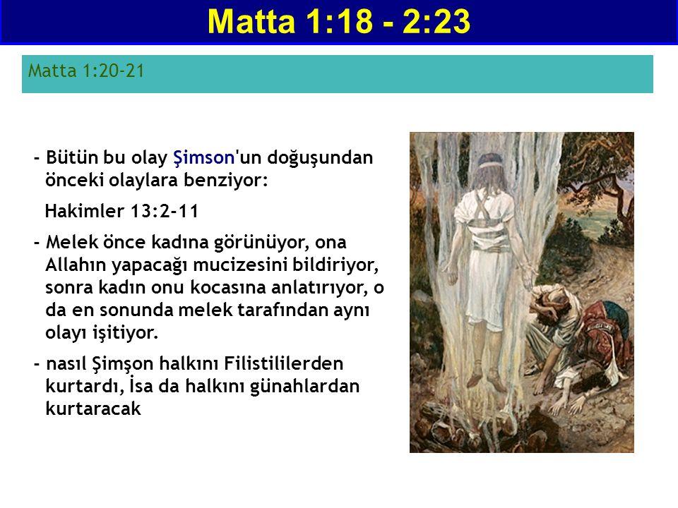 - Bütün bu olay Şimson'un doğuşundan önceki olaylara benziyor: Hakimler 13:2-11 - Melek önce kadına görünüyor, ona Allahın yapacağı mucizesini bildiri