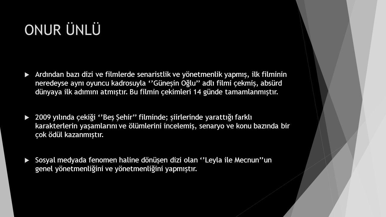 ONUR ÜNLÜ  Fakat bu dizi; tüm ekibin Gezi Parkı Sürecine destek vermesi ile yayından kaldırılmıştır.