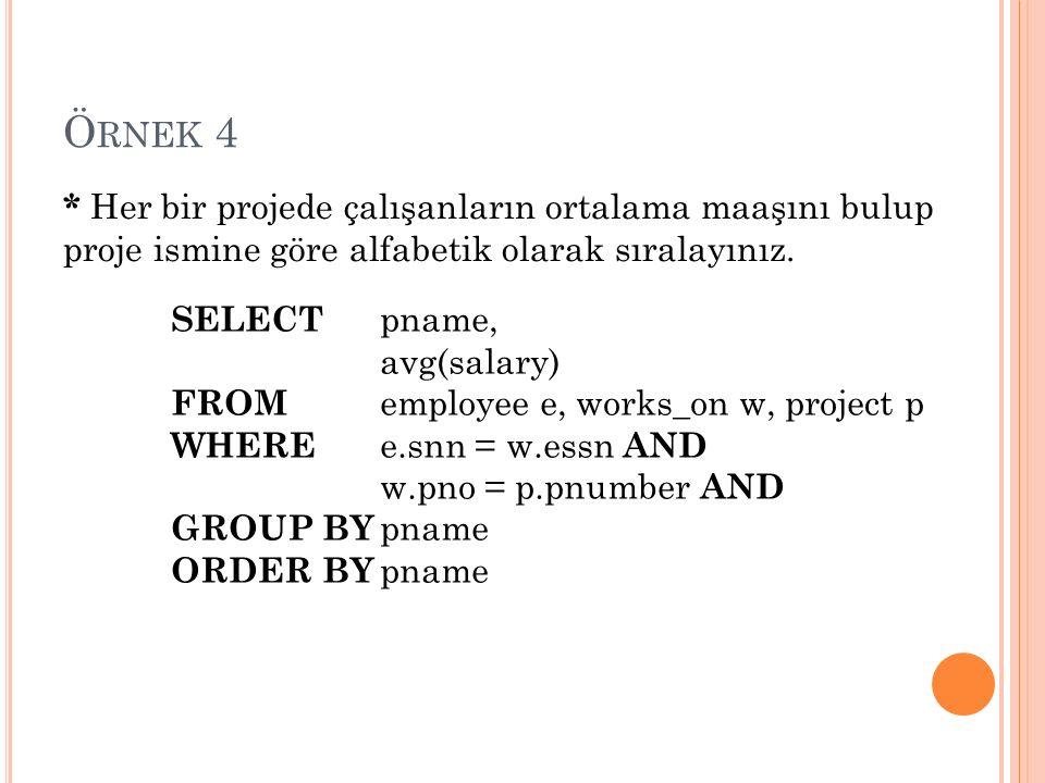 Ö RNEK 4 * Her bir projede çalışanların ortalama maaşını bulup proje ismine göre alfabetik olarak sıralayınız.
