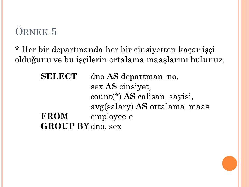Ö RNEK 5 * Her bir departmanda her bir cinsiyetten kaçar işçi olduğunu ve bu işçilerin ortalama maaşlarını bulunuz.
