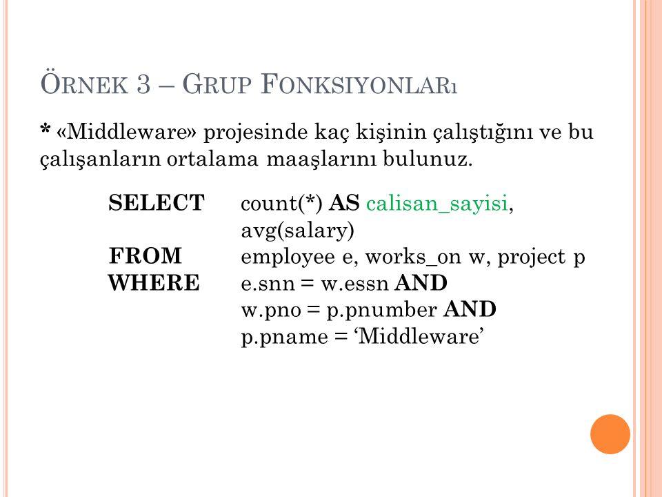 Ö RNEK 3 – G RUP F ONKSIYONLARı * «Middleware» projesinde kaç kişinin çalıştığını ve bu çalışanların ortalama maaşlarını bulunuz.