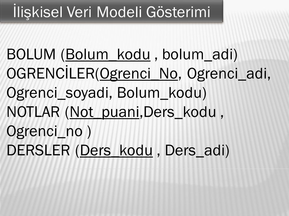 BOLUM (Bolum_kodu, bolum_adi) OGRENCİLER(Ogrenci_No, Ogrenci_adi, Ogrenci_soyadi, Bolum_kodu) NOTLAR (Not_puani,Ders_kodu, Ogrenci_no ) DERSLER (Ders_kodu, Ders_adi)