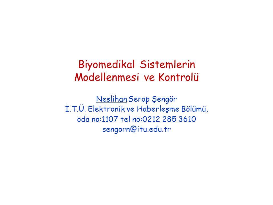 Biyomedikal Sistemlerin Modellenmesi ve Kontrolü Neslihan Serap Şengör İ.T.Ü.