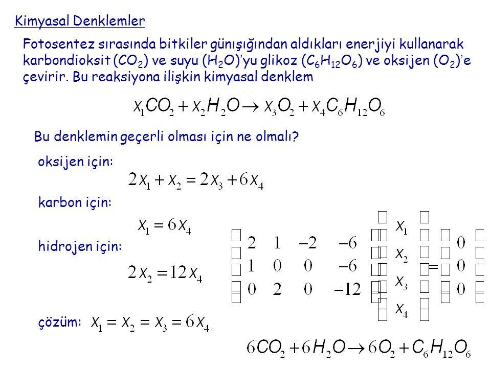 Kimyasal Denklemler Fotosentez sırasında bitkiler günışığından aldıkları enerjiyi kullanarak karbondioksit (CO 2 ) ve suyu (H 2 O)'yu glikoz (C 6 H 12 O 6 ) ve oksijen (O 2 )'e çevirir.