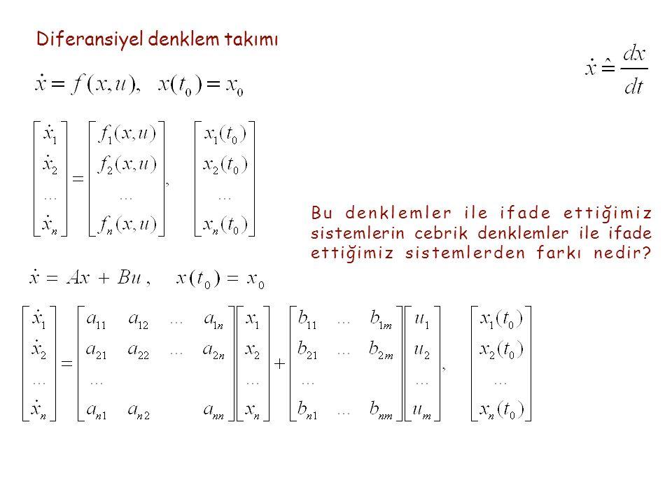 Diferansiyel denklem takımı Bu denklemler ile ifade ettiğimiz sistemlerin cebrik denklemler ile ifade ettiğimiz sistemlerden farkı nedir