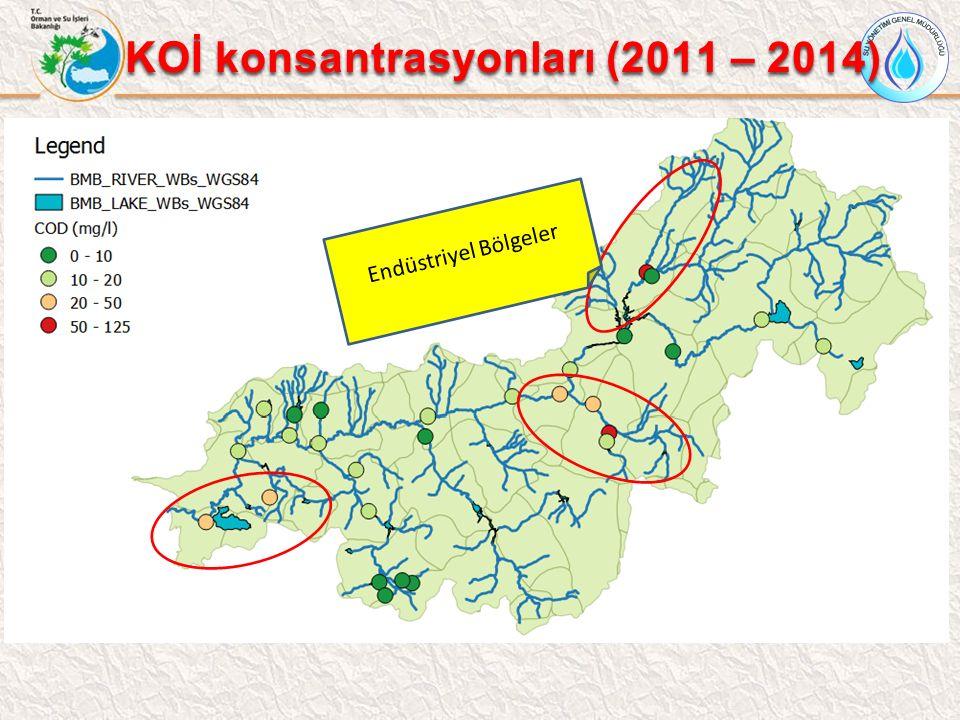 KOİ konsantrasyonları (2011 – 2014) Endüstriyel Bölgeler