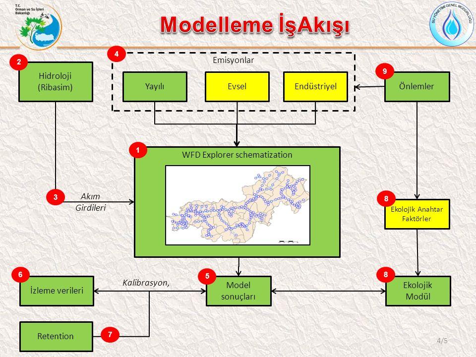 4/5 WFD Explorer schematization Hidroloji (Ribasim) EvselEndüstriyelYayılı Emisyonlar Model sonuçları İzleme verileri Kalibrasyon, 1 2 3 Akım Girdileri 4 5 6 Retention Ekolojik Modül 7 8 Ekolojik Anahtar Faktörler 8 Önlemler 9