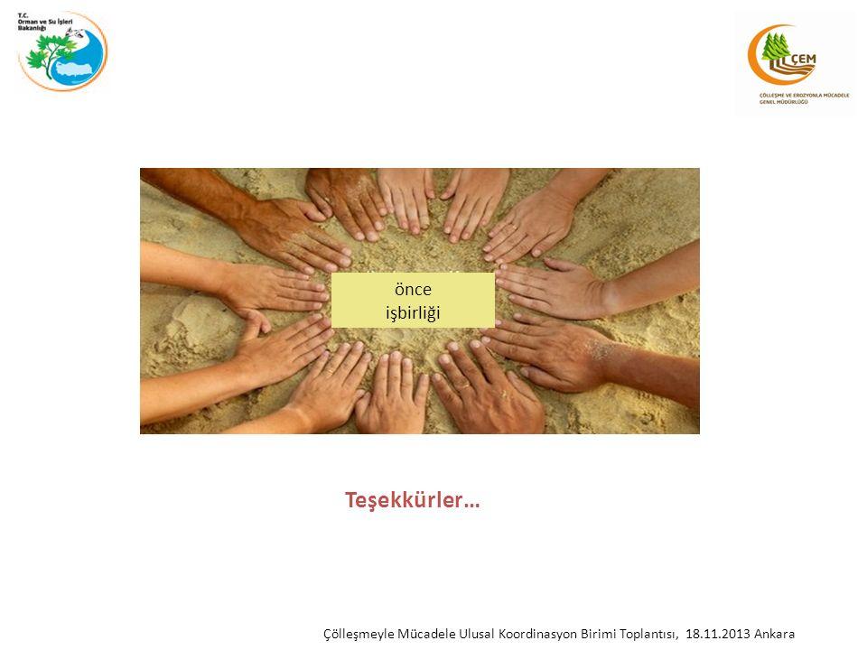 Teşekkürler… Çölleşmeyle Mücadele Ulusal Koordinasyon Birimi Toplantısı, 18.11.2013 Ankara önce işbirliği