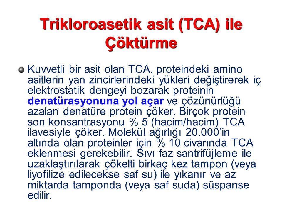 Trikloroasetik asit (TCA) ile Çöktürme Kuvvetli bir asit olan TCA, proteindeki amino asitlerin yan zincirlerindeki yükleri değiştirerek iç elektrostat