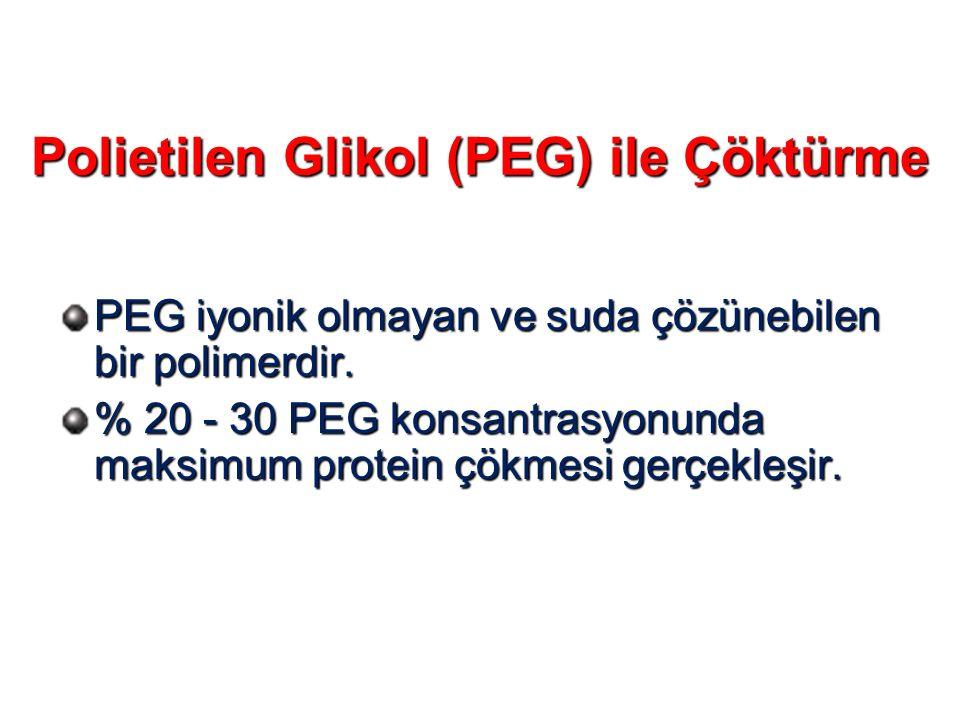 Polietilen Glikol (PEG) ile Çöktürme PEG iyonik olmayan ve suda çözünebilen bir polimerdir. % 20 - 30 PEG konsantrasyonunda maksimum protein çökmesi g