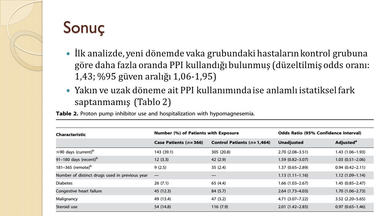 Sonuç İlk analizde, yeni dönemde vaka grubundaki hastaların kontrol grubuna göre daha fazla oranda PPI kullandığı bulunmuş (düzeltilmiş odds oranı: 1,43; %95 güven aralığı 1,06-1,95) Yakın ve uzak döneme ait PPI kullanımında ise anlamlı istatiksel fark saptanmamış (Tablo 2)
