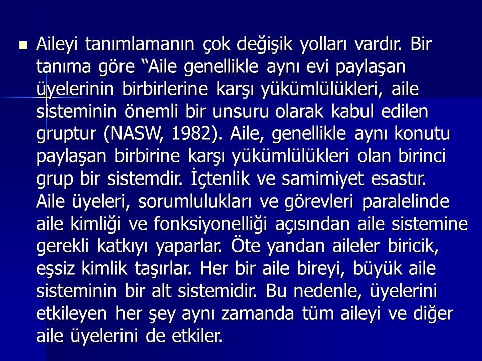Türk Aile Yapısı Özel İhtisas Komisyonu tarafından verilen tanıma göre(1987), aile,kan bağı,evlilik ve diğer yasal yollardan aralarında akrabalık ilişkisi bulunan ve çoğunlukla aynı evde yaşayan bireylerden oluşan, bireylerin cinsel,sosyal ve ekonomik ihtiyaçlarının karşılandığı, topluma uyum ve katılımlarının sağlandığı ve düzenlendiği temel bir toplumsal birimdir.(Ünalan,1988,s.51) Türk Aile Yapısı Özel İhtisas Komisyonu tarafından verilen tanıma göre(1987), aile,kan bağı,evlilik ve diğer yasal yollardan aralarında akrabalık ilişkisi bulunan ve çoğunlukla aynı evde yaşayan bireylerden oluşan, bireylerin cinsel,sosyal ve ekonomik ihtiyaçlarının karşılandığı, topluma uyum ve katılımlarının sağlandığı ve düzenlendiği temel bir toplumsal birimdir.(Ünalan,1988,s.51)