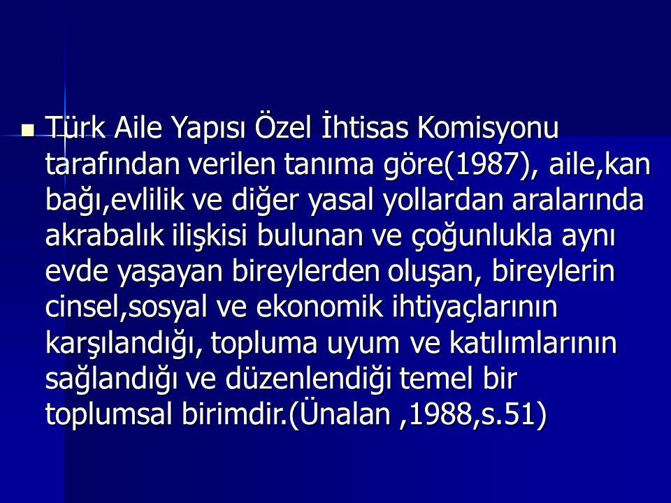 Türk Aile Yapısı Özel İhtisas Komisyonu tarafından verilen tanıma göre(1987), aile,kan bağı,evlilik ve diğer yasal yollardan aralarında akrabalık iliş