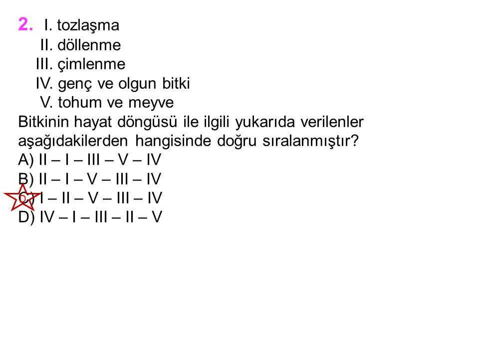 2. I. tozlaşma II. döllenme III. çimlenme IV. genç ve olgun bitki V.