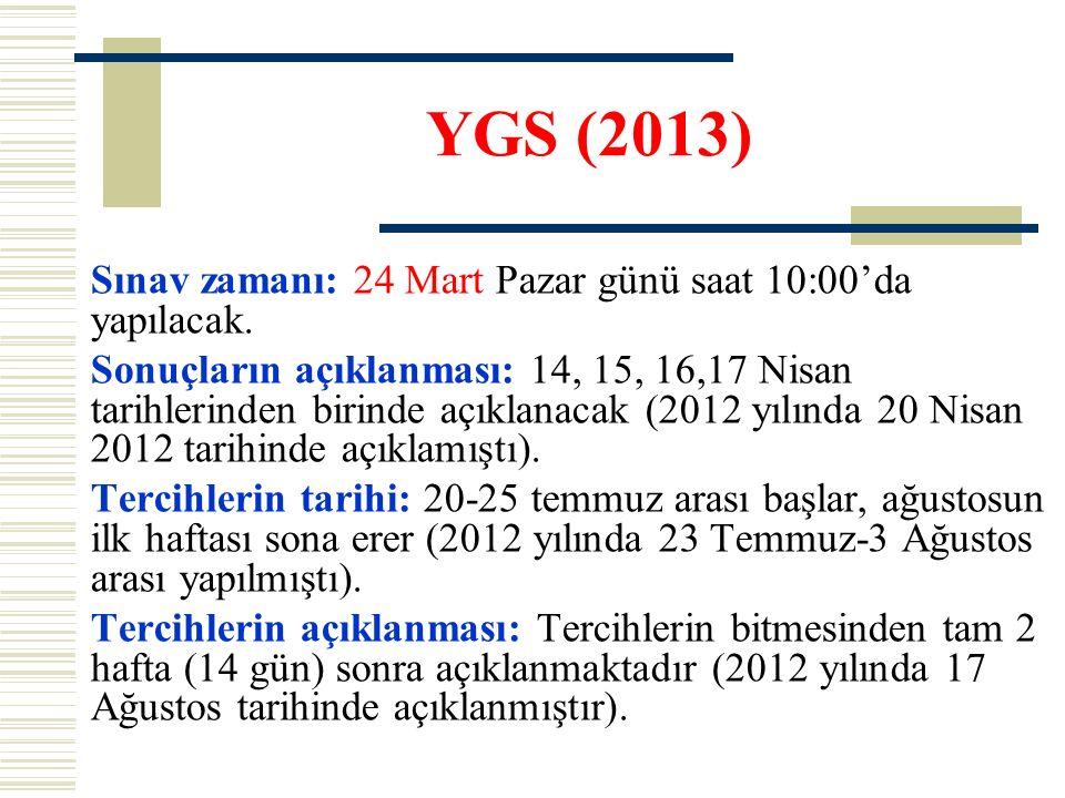 YGS (2013) Sınav zamanı: 24 Mart Pazar günü saat 10:00'da yapılacak. Sonuçların açıklanması: 14, 15, 16,17 Nisan tarihlerinden birinde açıklanacak (20